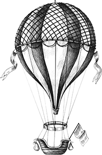 Hand illustrated hot air balloon, vintage style