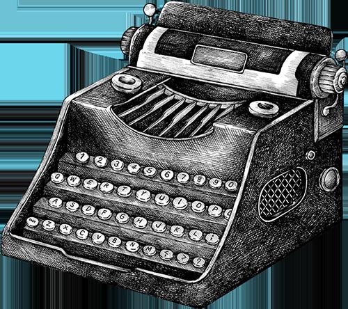 Vintage illustrated typewriter